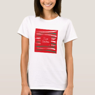 Xmas Brush Stripes red Ladies Fitted T-shirt