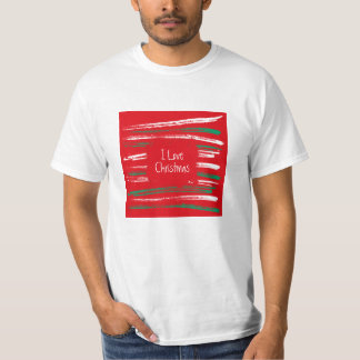 Xmas Brush Stripes red T-shirt