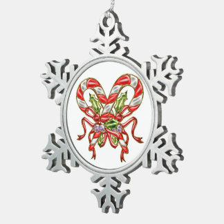 Xmas Candy 2 Snowflake Pewter Christmas Ornament