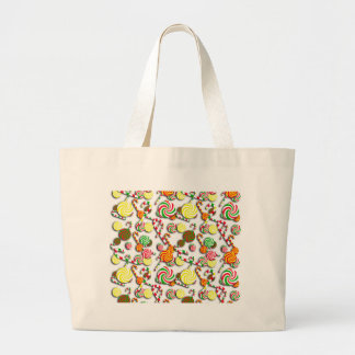 Xmas candy pattern large tote bag
