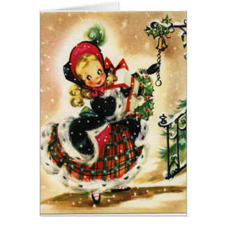 Xmas Card, Vintage Little Girl Ringing Bell Card