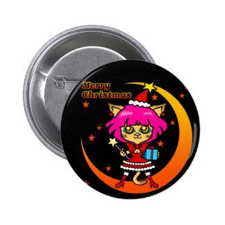 xmas cat pinback buttons
