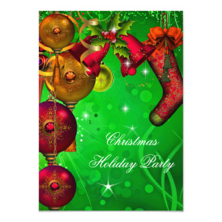 Xmas Christmas Holiday Party Gold Red Green Card