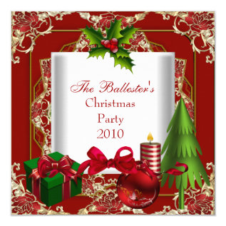 Xmas Christmas Party Red White Gold Green Card at Zazzle