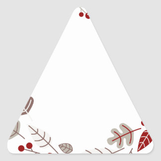 Xmas circle / wreath brown Red Triangle Sticker