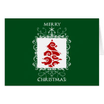 xmas, christmas, season, holidays, swirls, crest, shield, heraldy, december, winter, snow, Card with custom graphic design