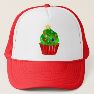 xmas cupcake tree trucker hat