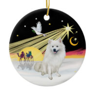 Xmas Dove - American Eskimo Dog Christmas Tree Ornament