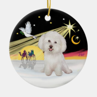 Xmas Dove - Bichon Frise #7 Ceramic Ornament