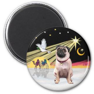 Xmas Dove (R) - Pug 1 2 Inch Round Magnet