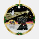 Xmas Dove - Scottish Terrier Double-Sided Ceramic Round Christmas Ornament