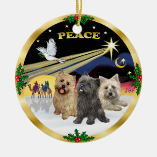 Xmas Dove - Three Cairn Terriers Double-Sided Ceramic Round Christmas Ornament