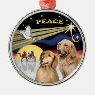 Xmas Dove - Two Golden Retrievers Metal Ornament