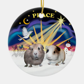 Xmas Dove - Two Guinea Pigs (#1and#2) Double-Sided Ceramic Round Christmas Ornament