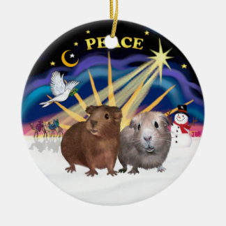 Xmas Dove - Two Guinea Pigs (#2 and #3) Double-Sided Ceramic Round Christmas Ornament