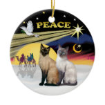 Xmas Dove - Two Siamese cats (Choc Blue) Christmas Ornaments