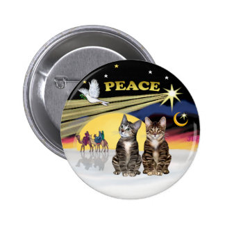 Xmas Dove - Two Tabby Cats Pinback Button