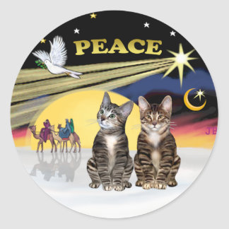 Xmas Dove - Two Tabby Cats Classic Round Sticker