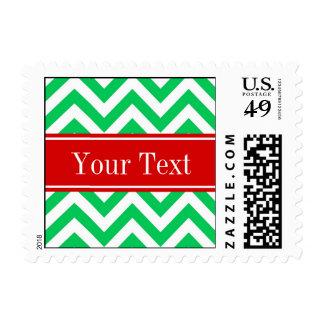 Xmas Emerald White LG Chevron Red Name Monogram Stamps