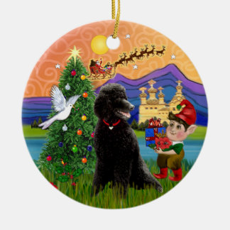 Xmas Fantasy - Black Standard Poodle Double-Sided Ceramic Round Christmas Ornament