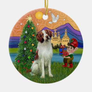 Xmas Fantasy -  Brittany Spaniel Ceramic Ornament