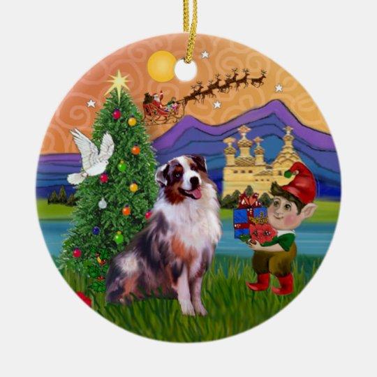 Australian Shepherd Christmas Ornament.Xmas Fantasy Merle Australian Shepherd Ceramic Ornament