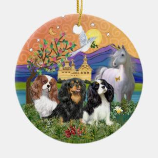 Xmas Fantasy-Three Cavalier King Charles Spaniel Double-Sided Ceramic Round Christmas Ornament
