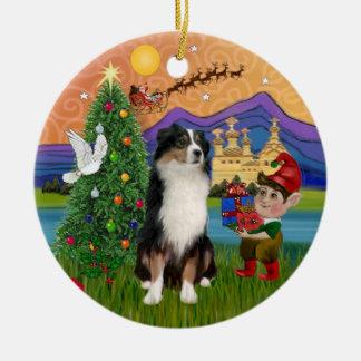 Xmas Fantasy - Tri Australian Shepherd Ceramic Ornament