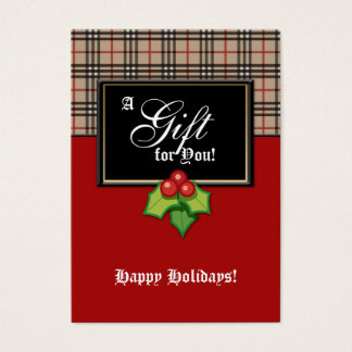 Xmas Fashion Gift Card Designer Plaid Holly BRB