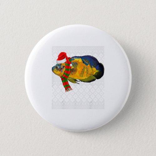 Xmas Fish Santa Hat Oscars Ugly Christmas Button