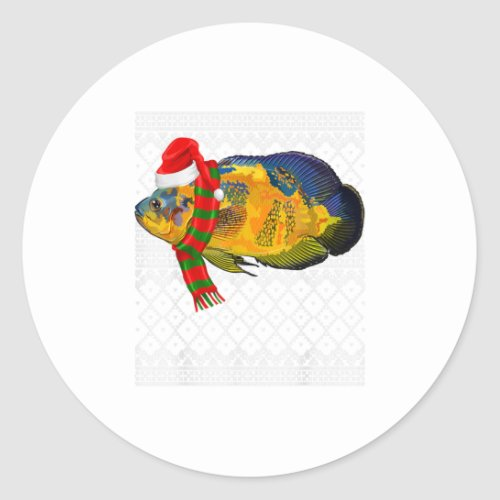 Xmas Fish Santa Hat Oscars Ugly Christmas Classic Round Sticker