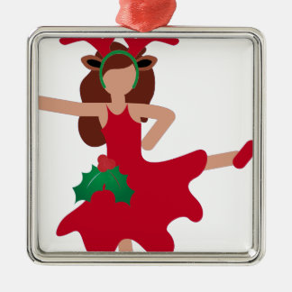 xmas flamenco dancer emoji metal ornament