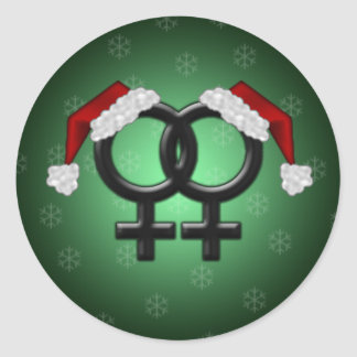 Xmas Flare - Lesbian Green Classic Round Sticker