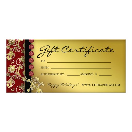Xmas gift certificates salon spa gold red floral rack card template zazzle for Zazzle gift certificate