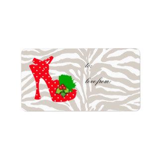 Xmas Gift Labels Cute Zebra Shoe Red dots