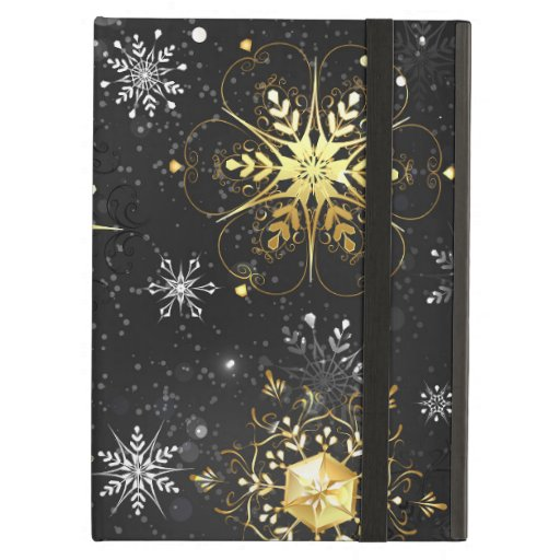 Xmas Golden Snowflakes on Black Background Case For iPad Air