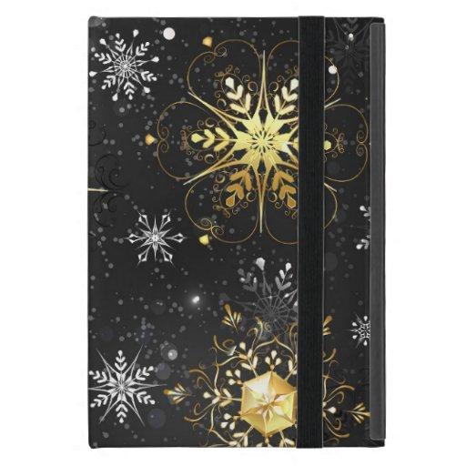 Xmas Golden Snowflakes on Black Background Case For iPad Mini