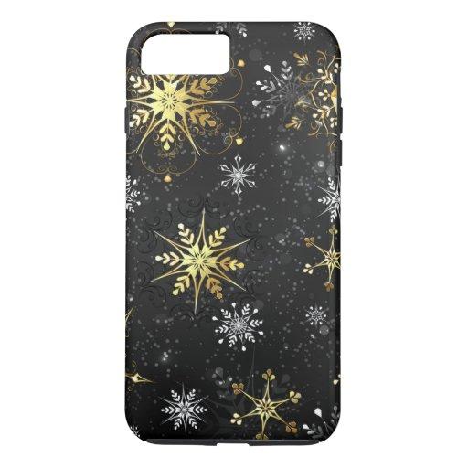 Xmas Golden Snowflakes on Black Background iPhone 8 Plus/7 Plus Case