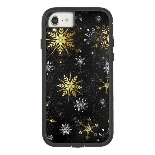 Xmas Golden Snowflakes on Black Background Case-Mate Tough Extreme iPhone 8/7 Case