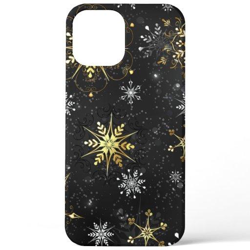 Xmas Golden Snowflakes on Black Background iPhone 12 Pro Max Case