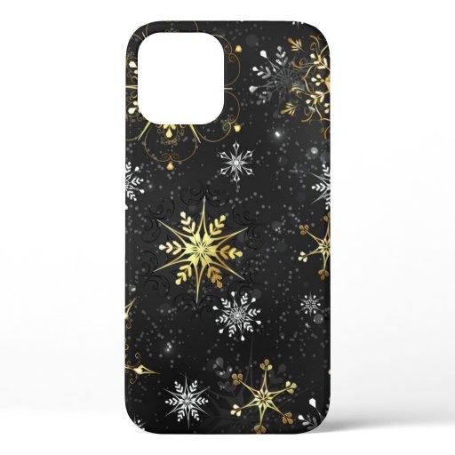 Xmas Golden Snowflakes on Black Background iPhone 12 Pro Case