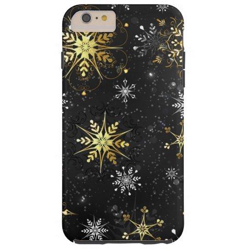 Xmas Golden Snowflakes on Black Background Tough iPhone 6 Plus Case