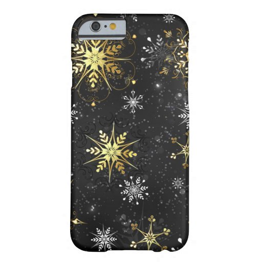 Xmas Golden Snowflakes on Black Background Barely There iPhone 6 Case