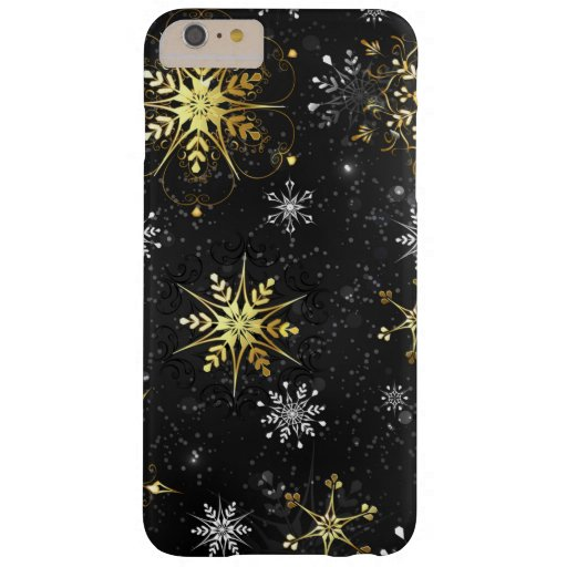 Xmas Golden Snowflakes on Black Background Barely There iPhone 6 Plus Case