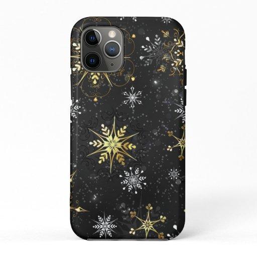 Xmas Golden Snowflakes on Black Background iPhone 11 Pro Case