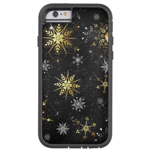Xmas Golden Snowflakes on Black Background Tough Xtreme iPhone 6 Case