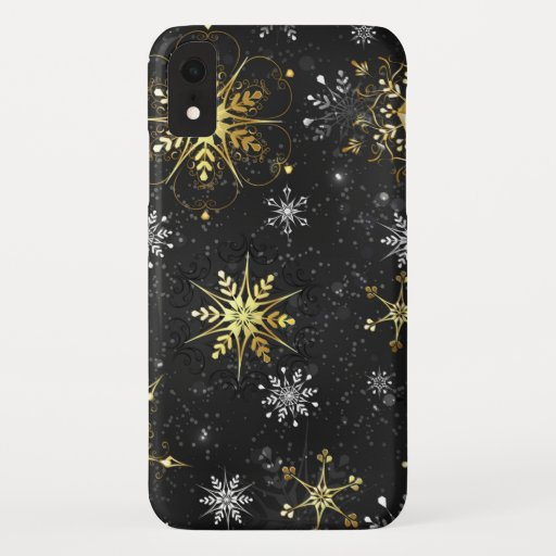 Xmas Golden Snowflakes on Black Background iPhone XR Case