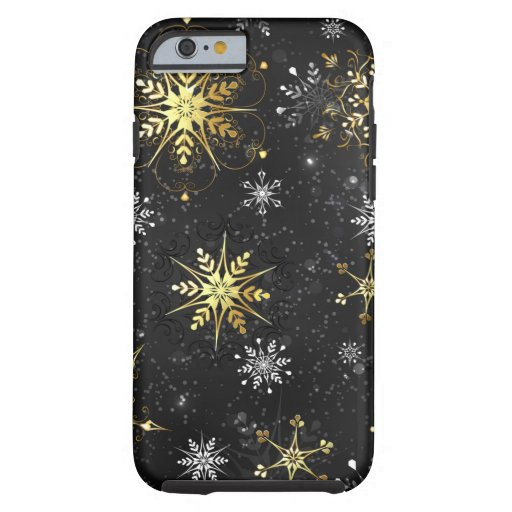 Xmas Golden Snowflakes on Black Background Tough iPhone 6 Case