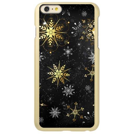 Xmas Golden Snowflakes on Black Background Incipio Feather Shine iPhone 6 Plus Case