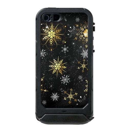 Xmas Golden Snowflakes on Black Background Waterproof Case For iPhone SE/5/5s